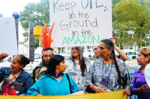 Sapara and Kichwa women leaders with allies in New York City during the United Nations General Assembly, September 2015 – Photo by Emily Arasim